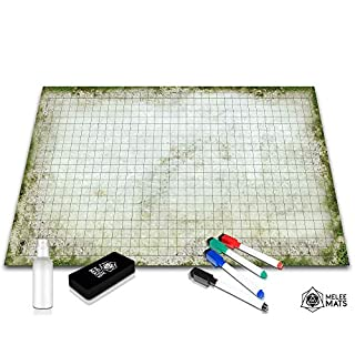 "Battle Grid Game Mat - 24""x36"" Table Top Role Playing Map - DND Role Play - RPG Dungeons and Dragons Maps Tiles - Reusable Miniature Figure Board Games - Tabletop Gaming Mats (Moss)"