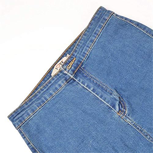 Pantalones Verano Up Señoras Adelina Delgados Alta Vaqueros Del Bolsillos Elásticos Push Las Con De Cintura Lápiz Ropa Hellblau dqdFtY