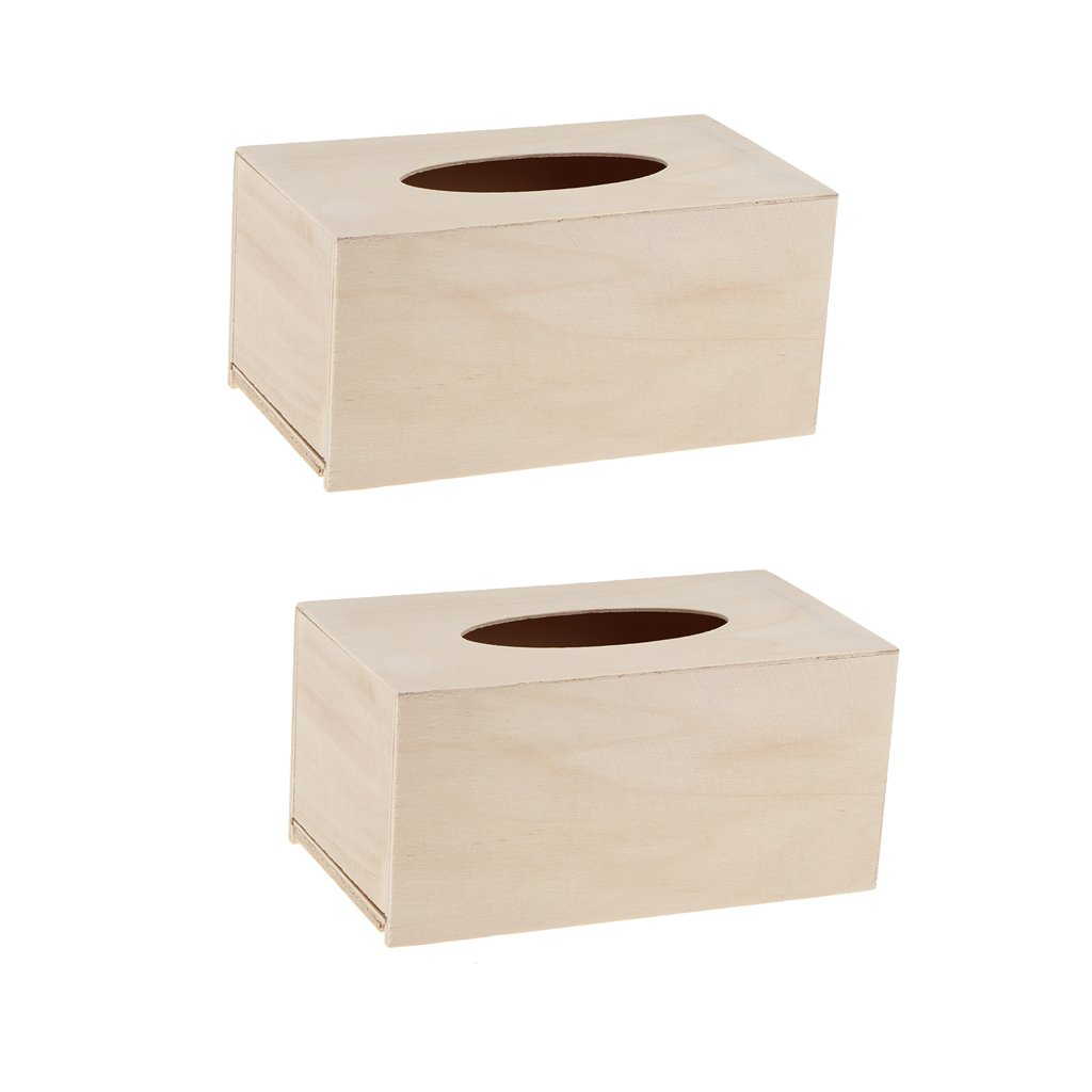 Dolity 2pcs Unfinished Wooden Tissue Box Cover Holder for Crafting Creating Decor