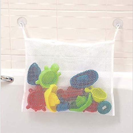 37 * 37cm 1X Phononey Bath Toy Organizer Large Mesh Storage Hanging Bag Foldable Bathroom Toys Organizer Bag for Kids Baby Children White
