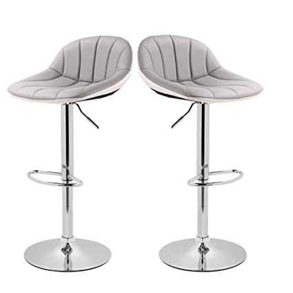 Fine Adjustable Swivel Barstools With Back For Home Bar Kitchen Counter New Modern Grey And White Pu Leather Hydraulic Bar Chair Set Of 2 Hold Up To Theyellowbook Wood Chair Design Ideas Theyellowbookinfo