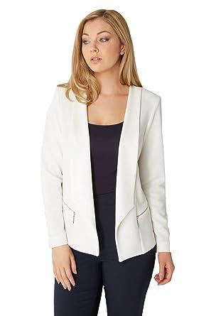 4b6a3f4392417 Roman Originals Women White Textured Zip Pocket Long Sleeve Jacket - Ladies  Soft Blazers Jackets for