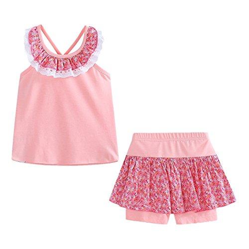 LittleSpring Little Girls' Shorts Set Summer Flower Sleveless Size 3T Light-Pink by LittleSpring