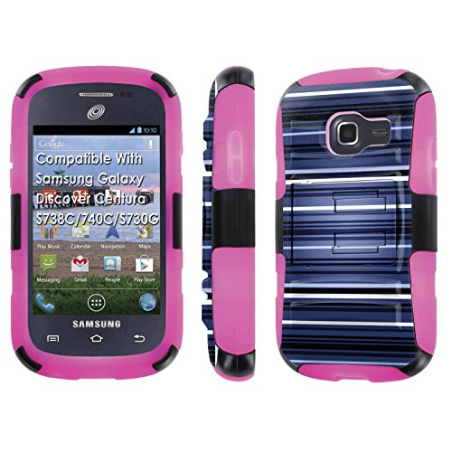Samsung Galaxy Discover Centura S738C / 740 C / S730 GCase, [NakedShield] [Black/Rose Pink] Armor Tough Shock Proof Kickstand Case - [Blue Lines] for Galaxy Discover Centura -