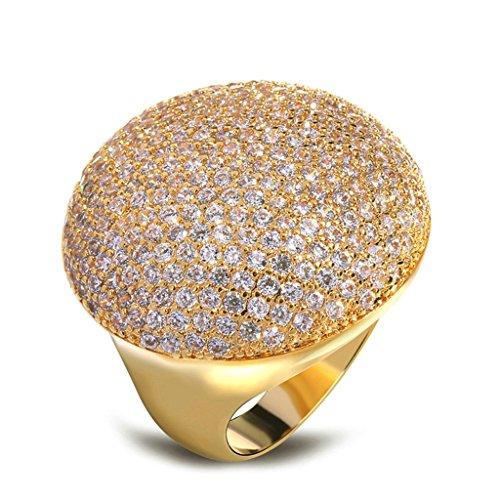 Bishilin 18K Gold Plated White Round Cubiz Zirconia Wedding Engagement Rings For Women Large Size 6 (Figures Christmas Father Uk Large)
