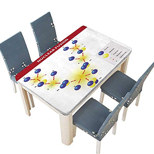 PINAFORE Fitted Polyester Tablecloth The Sun generates its Energy by Nuclear Fusion of Hydrogen Nuclei into Helium The Hydrogen Bomb Washable for Tablecloth W25.5 x L65 INCH (Elastic Edge) (Nuclear Fusion In The Sun For Kids)
