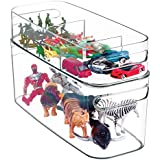 mDesign Stackable Organizer Bins for Toy Storage - Set of 2, Clear