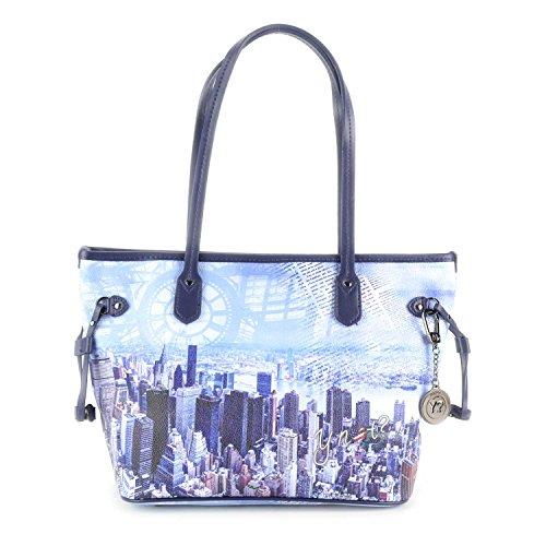 BORSA YNOT SHOPPING BAG SMALL H-336 BLM BLUE MANHATTAN