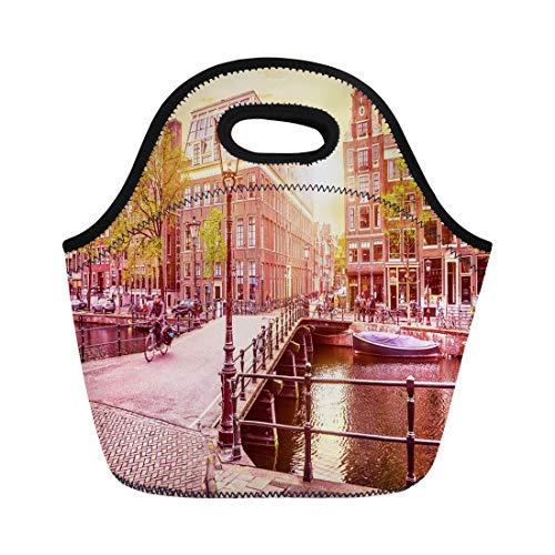 Semtomn Lunch Bags Channel in Amsterdam Netherlands Holland Houses Under River Amstel Neoprene Lunch Bag Lunchbox Tote Bag Portable Picnic Bag Cooler Bag