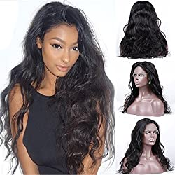 S-noilite 100% Unprocessed Brazilian Virgin Human Hair Glueless Lace Front Wigs Long Body Wave Wavy Curly with Baby Hair Nartural Pre Plucked for Black Women (14 inch 1B-Off Black)