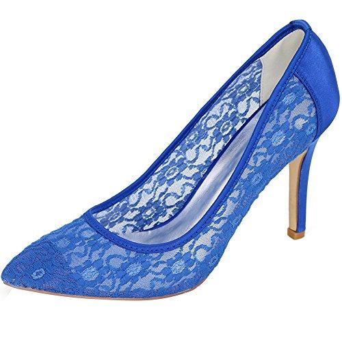 Loslandifen Femmes Bout Pointu Fleurs Stiletto Talon Dentelle Mariage Chaussures De Mariée Bleu Dentelle / 10e