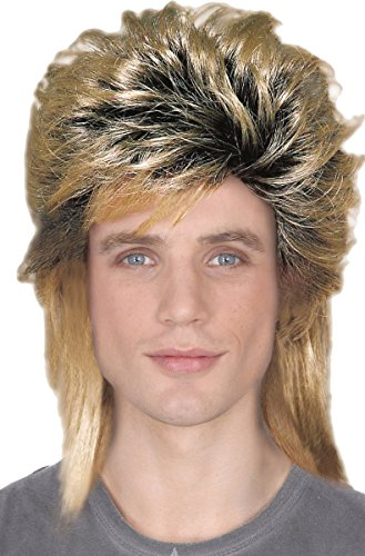 Rock 80s Glam Star (Mens Fancy Glam Rock Dress Party 1980s Pop Star Style New Romantic Fake Wig)