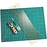 KnitIQ Rotary Cutting Set, Contains Rotary Cutter, self-Healing Cutting mat, Ruler, Seam Ripper and Long Pearlised pins