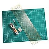 KnitIQ Rotary Cutting Set, Contains Rotary Cutter, self-Healing Cutting mat, Ruler, Seam Ripper and Long...
