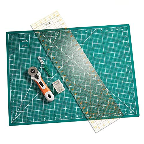 KnitIQ Rotary Cutting Set, Contains Rotary Cutter, self-Healing Cutting mat, Ruler, Seam Ripper and Long Pearlised pins ()