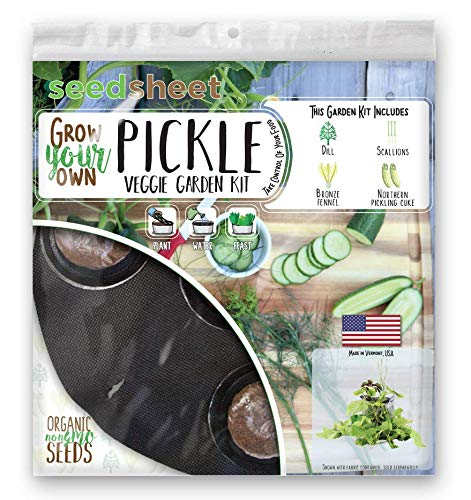 Seedsheet, Grow Your Own Pickle Container Garden, Organic Seed Pods, Pickling Cucumbers, Dill, Bronze Fennel, Scallions, Seedsheet Only, As Seen on Shark Tank