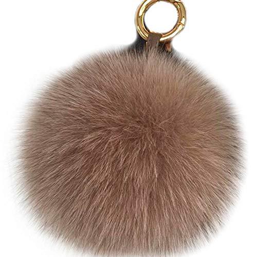(Valpeak 5'' Fox Fur Pom Pom Keychain Fur Ball Fluffy Fur Keychain Pom Pom)