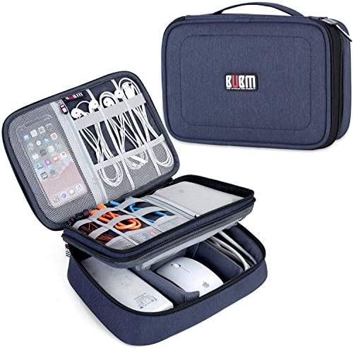 BUBM Electronic Organizer, Double Layer Travel Accessories Storage Bag for Cord, Adapter, Battery, Camera and More-a Sleeve Pouch for iPad or up to 9.7″ Tablet(Large, Dark Blue)
