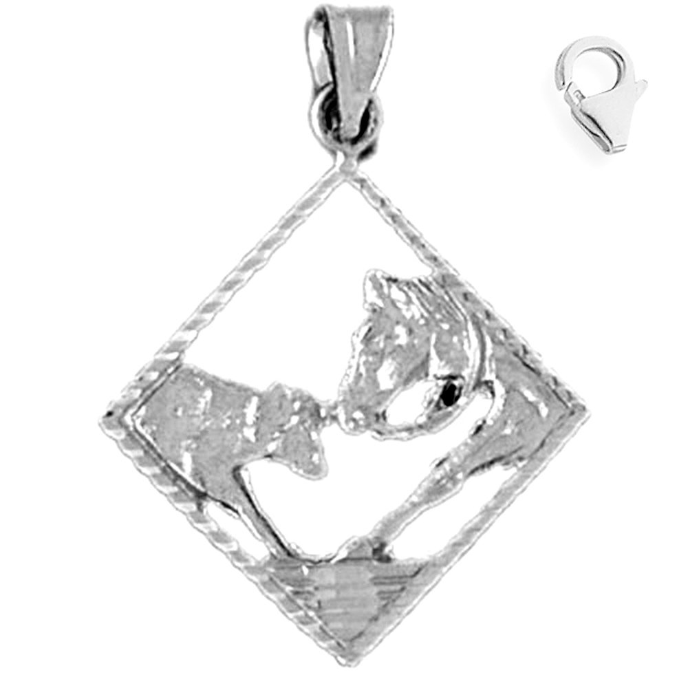 JewelsObsession Sterling Silver 29mm Horse Head Charm w//Lobster Clasp