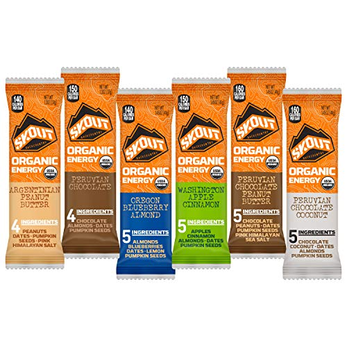 SKOUT BACKCOUNTRY Organic Energy Bars - Variety Pack - Vegan Snacks - Plant Based Bars - Non-GMO - Gluten Free, Dairy Free, Soy Free - No Sugar Added - (12 Count)