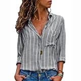 Ulanda Womens Long Sleeve Button Down Shirts Autumn Casual V Neck Striped Loose Tops Blouse