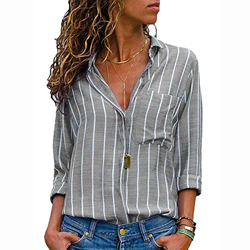 Ulanda Womens Long Sleeve Button Down Shirts Autumn Casual V Neck Striped Loose Tops Blouse by Ulanda