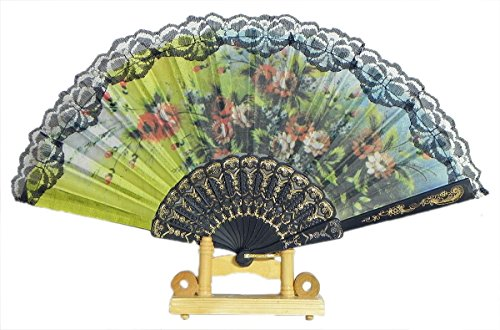 (DollsofIndia Multicolor Floral Print on Silk Folding Fan with Stand - 9.5 inches (OF23))