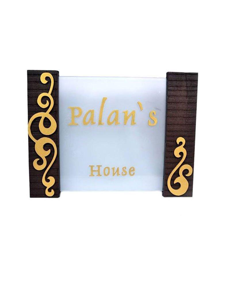 Karigaari India Acrylic & Sleeper Wood Palans Name Plate