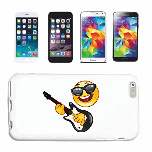 "cas de téléphone iPhone 6S ""COOLER SMILEY AVEC LUNETTES AU JEU GUITARE ""SMILEYS SMILIES ANDROID IPHONE EMOTICONS IOS grin VISAGE EMOTICON APP"" Hard Case Cover Téléphone Covers Smart Cover pour Apple i"