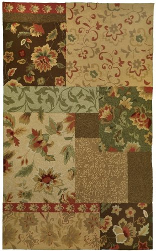 Diva At Home 5' x 7' Brown and Red Garden Foliage Patchwork Hand Hooked Outdoor Area Throw Rug