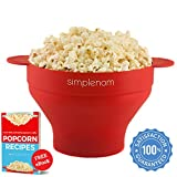 Microwave Popcorn Popper & Popcorn Maker Bowl | Healthy No Oil Theater Taste | Fast, Easy and Quiet | Best Food Grade Silicone FDA Approved & PVC BPA Free | Air Popper Machine, Stovetop, Gift (Red)