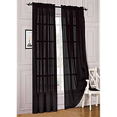 Elegant Comfort® 2 Piece Solid Sheer 60  x 84  Window Curtains/drape/panels/treatment, Black