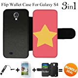 Steven Universe Star Custom Galaxy S4 Cases Flip Wallet Case,Bundle 3in1 Comes with Screen Protector/Universal Stylus Pen by innosub
