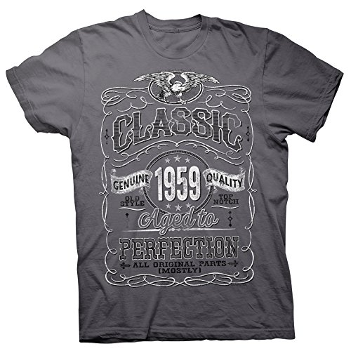 60th Birthday Gift Shirt - Classic 1959 Aged to Perfection - Charcoal-002-2X