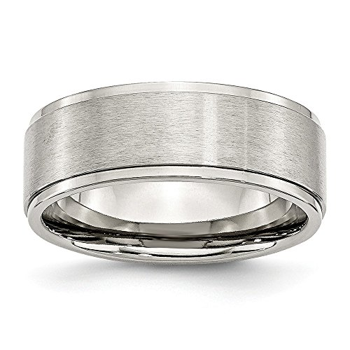 Stainless Steel Ridged Edge 8mm Brushed and Polished Band Size 6 (Edge Stainless Steel Ridged)