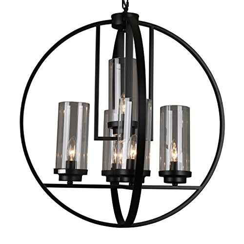 HomCom 5-Light Retro Industrial Black Metal Strap Globe Chandelier - Black