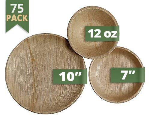 CaterEco Round Palm Leaf Dinnerware Set | Pack of 75- (25) Dinner Plates, (25) Salad Plates and (25) Bowls | Ecofriendly Disposable Dinnerware | Heavy Duty Biodegradable Party Utensils