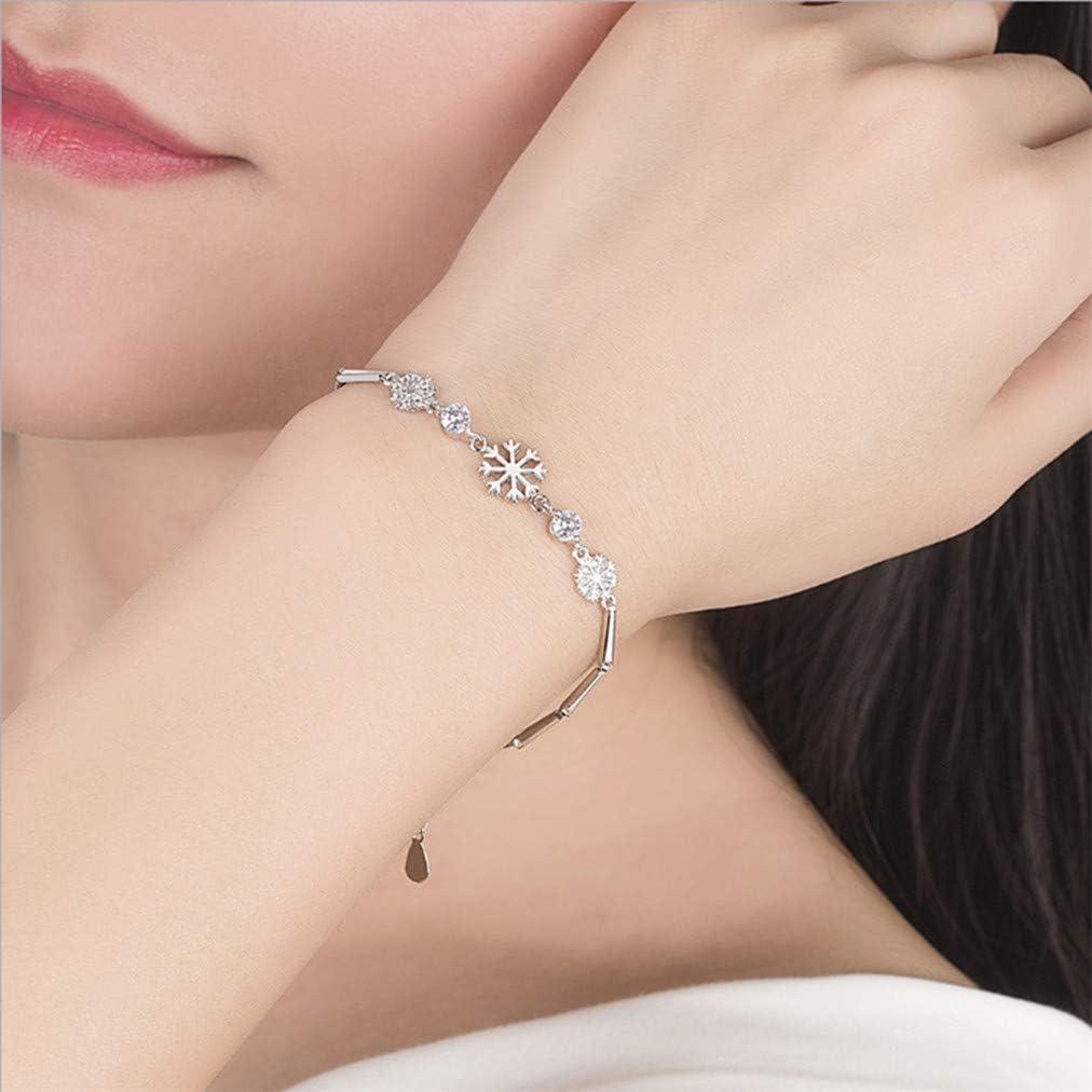 Sevenfly Womens Charm Anklet Bracelet Elegant Rhinestone Bracelet Snowflake Bangle,White