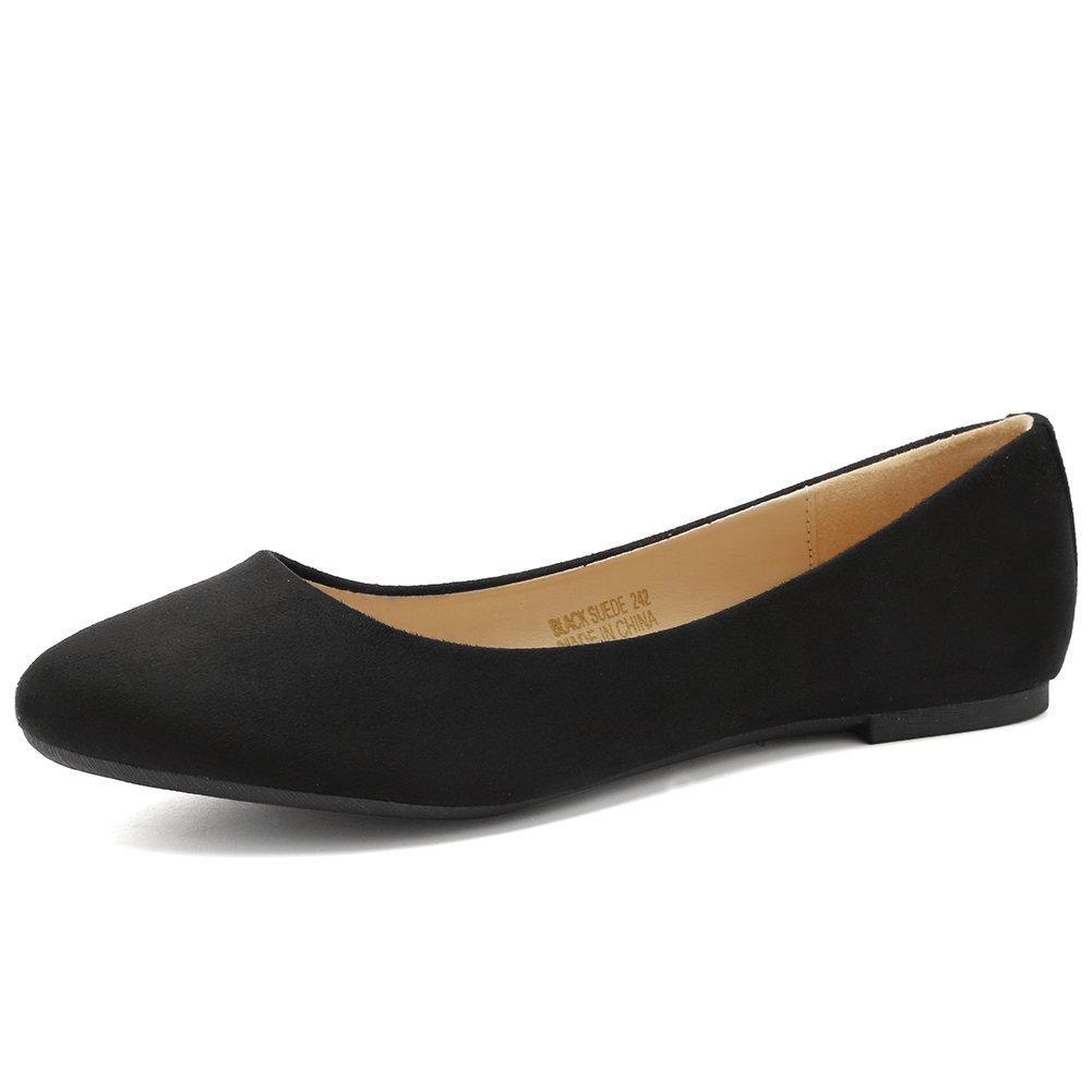 CIOR Women Ballet Flats Classy Girls Simple Casual Slip-on Comfort Walking Shoes from Merence,BlackSuede,258,8.5M