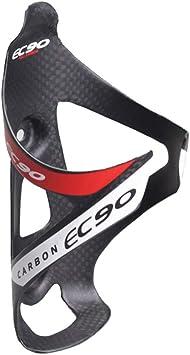 EC90 - Portabidones de fibra de carbono para bicicleta (peso ligero, resistente, rápido y fácil de montar), color rojo