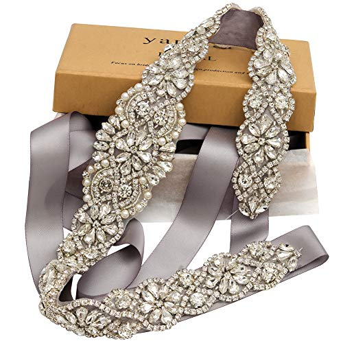 Small Silver Rhinestone - Bridal Rhinestone Wedding Belts Hand Clear Crystal 22In Length For Bridal Gowns (Silver-Silver)