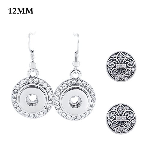 Lovmoment Mini Earrings Fit 12 MM Snap Charms with Rhinestone Snap Jewelry Earrings (Flower)