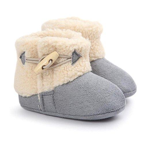 Miya Super Süß Baby Lammfell Stiefel, Rutschfeste Lauflernschuhe, warm Winter Plüschschuhe, weich, warm und schön, 6 ~ 12 Monate,Grau/weinrot/beige Grau