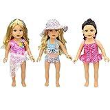 XADP 6 Pc. Swim Suit 18 Inch Doll Swim Set Swimwear Bikini Outfit fits American Girl and 18 inch Dolls,Set of 3
