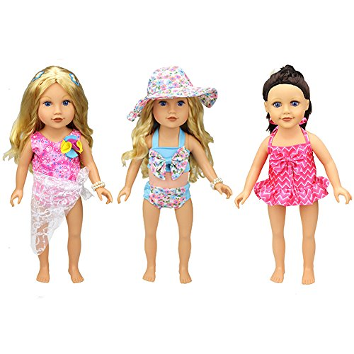 XADP 6 Pc. Summer Holiday Beach Party Swim Suit for 18 Inch Doll Swim Set Swimwear Bikini Outfit fits American Girl and 18 inch Dolls,Set of 3