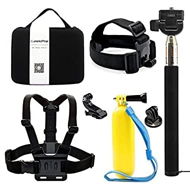 GEEKPRO 5in1 Accessories Starter Kit Head/Chest Strap, Floating Bar, Monopod for GoPro, Geekpro, ANART, ASX Action Camera