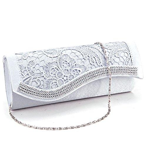 Satin Women Lace Evening Wedding Crystal Bag POPLife Bag Bridal Handbag Clutch Floral AqIwy5E