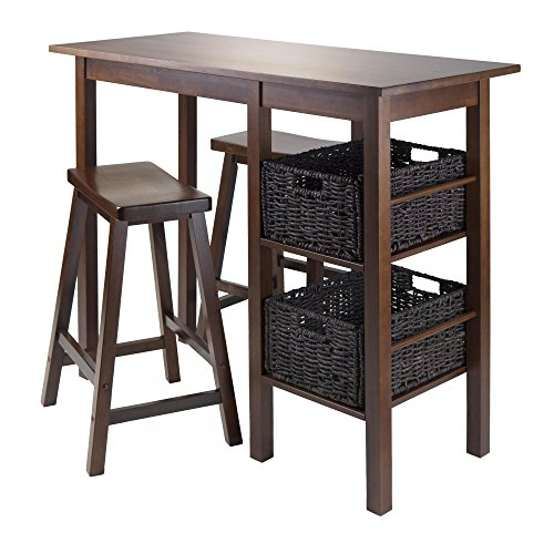 Piece Table with 2 24-Inch Saddle Seat Stools and 2 Baskets (Antique Walnut 24 Inch Saddle Stool)