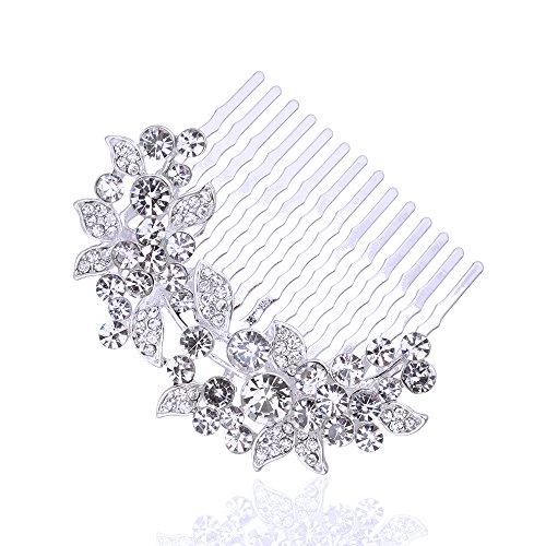 LFM Bridal Leaf Hair Comb Clear Crystal Hair Clip Women's GIFT Headwear or Hairdress - Scunci Hair Dryer