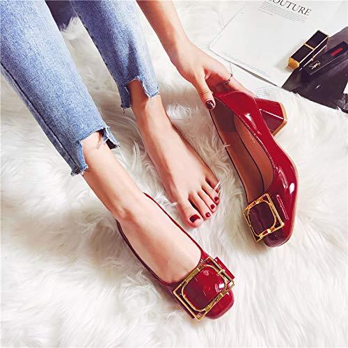 Yukun zapatos de tacón alto Zapatos De Mujer De Tacón Alto Rojo Otoño Marea Cuadrado De La Cabeza Salvaje Pintura Cuero Grueso Grueso con Zapatos Individuales Femeninos Red Wine